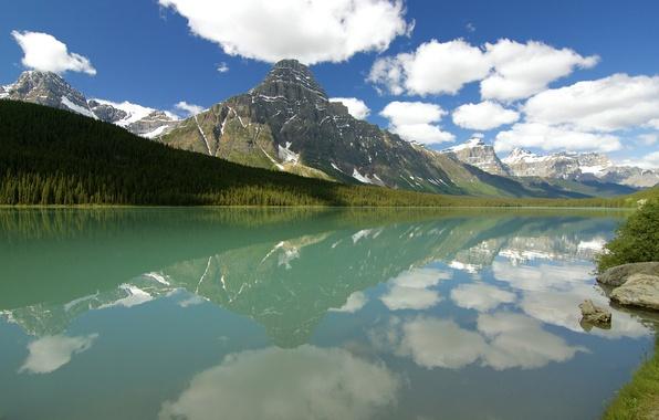 Картинка лес, небо, облака, горы, озеро, отражение, Канада, Альберта, Banff National Park, Mount Chephren, Waterfowl Lake