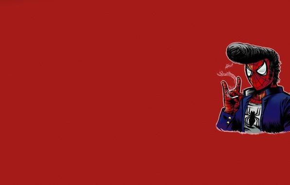 Картинка минимализм, паутина, прическа, сигарета, красный фон, элвис пресли, человек паук, spider man