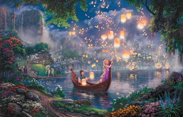Картинка цветы, ночь, мост, огни, озеро, замок, лодка, сказка, парус, живопись, фонарики, принцесса, дворец, Tangled, Паскаль, …