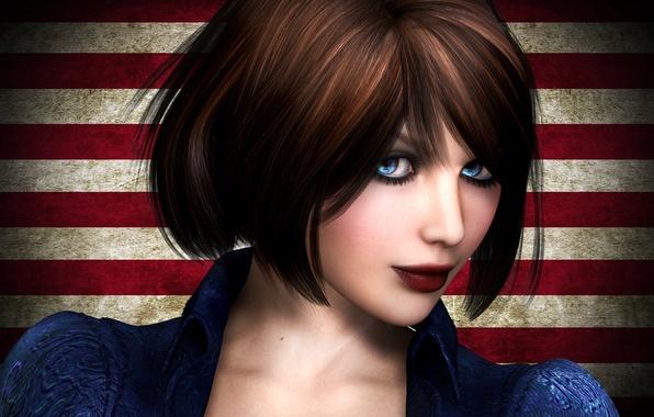 Картинка взгляд, девушка, лицо, рендеринг, игра, голубые глаза, BioShock Infinite, Элизабет