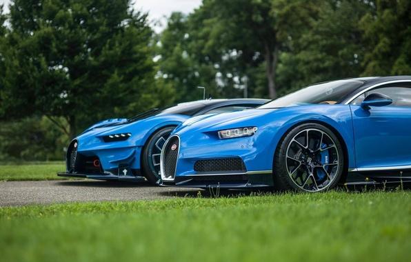Фото обои газон, Bugatti, Gran Turismo, трава, Vision, гиперкары, Chiron