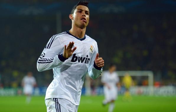 Картинка футбол, форма, Cristiano Ronaldo, футболист, гол, football, Роналду, игрок, празднование, Лига Чемпионов, Champions League, Реал …