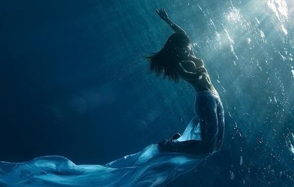 Картинка вода, девушка, рисунок, разное
