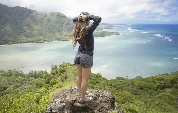 Картинка девушка, пейзаж, панорама