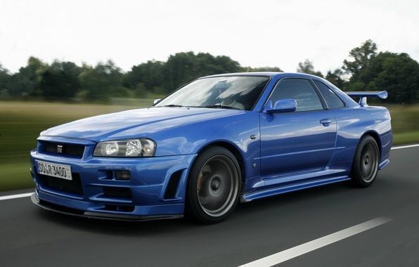 Картинка дорога, синий, nissan, спорткар, skyline, ниссан, gt-r, r34, гтр, скайлайн, легендарный автомобиль, v-spec