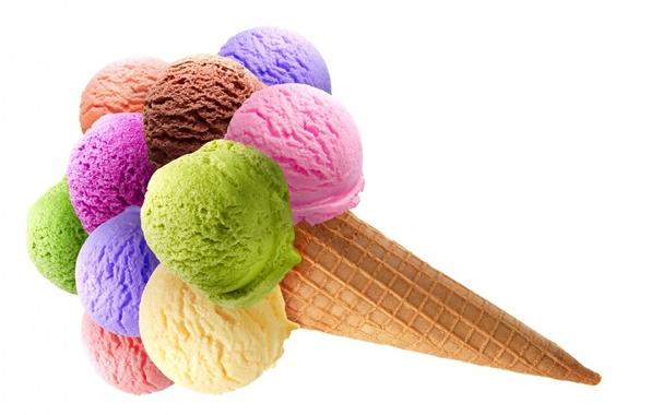 Картинка еда, мороженое, белый фон, трубочка, рожок, десерт, сладкое, вафля, разноцветные шарики