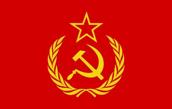 Картинка звезда, молот, флаг, эмблема, колосья, серп