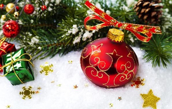 Картинка звезды, снег, красный, игрушки, елка, шар, ель, ветка, шарик, Новый Год, Рождество, Christmas, праздники, New …