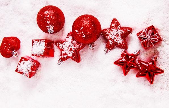 Картинка зима, звезды, шарики, снег, шары, игрушки, Новый Год, Рождество, красные, звёздочки, декорации, Christmas, праздники, New …