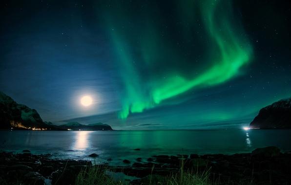 Картинка ночь, луна, северное сияние, залив, Исландия