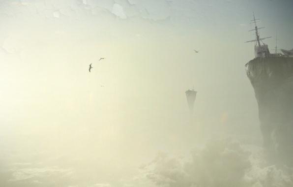 Картинка птицы, обрыв, Облака, обработка