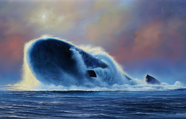 Картинка лодка, картина, художник, подводная, российская, проекта, атомная, 955, «Борей», Олег, «Юрий Долгорукий», Юдин