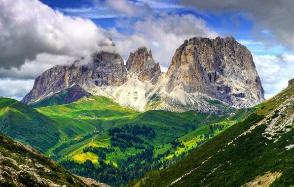 Картинка небо, облака, деревья, горы, склон, Италия, Доломитовые Альпы
