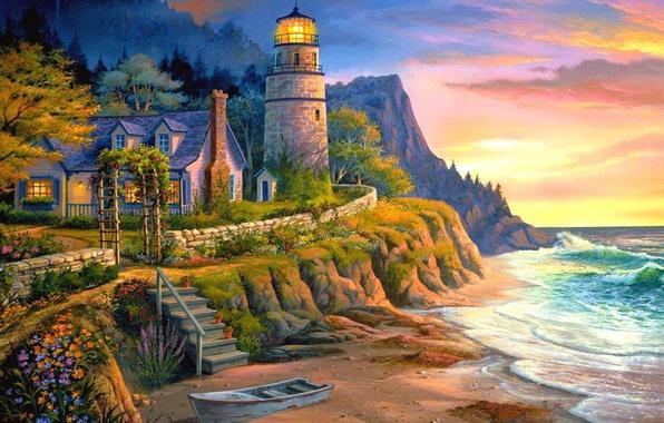 Картинка море, свет, закат, дом, лодка, маяк, вечер, лестница, живопись, Michael Humphries, Lighting the Way
