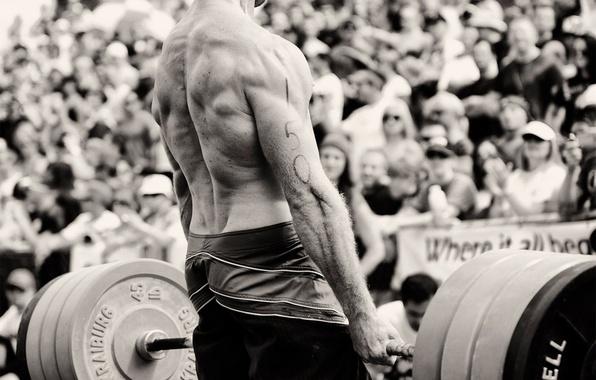 Картинка сила, спина, ч/б, черно-белое, мужчина, мышцы, штанга, силач