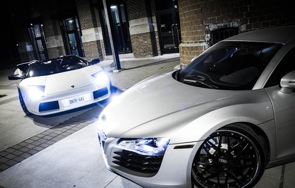 Картинка белый, свет, ночь, серый, Audi, ауди, перед, light, silver, white, lamborghini, диски, night, murcielago, front, …