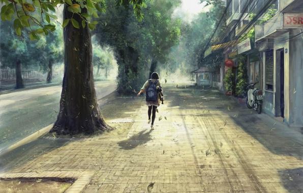 Картинка листья, ветер, улица, девочка, День, рюкзак