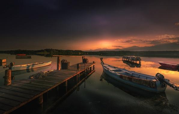 вечером на лодке фото