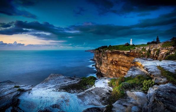 Картинка тучи, обрыв, океан, скалы, маяк, Австралия, Сидней