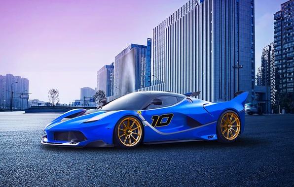 Картинка Pink, City, Ferrari, Race, Purple, Blue, Front, Sunset, Supercar, FXX K