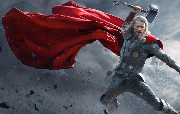 Картинка Dark, World, Action, Red, Disney, Fantasy, Sky, Warrior, The, Marvel, Thor, Walt, God, Weapons, Chris …