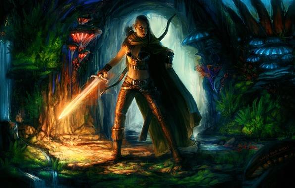 Картинка девушка, грибы, меч, лук, арт, пещера, плащ, горящий