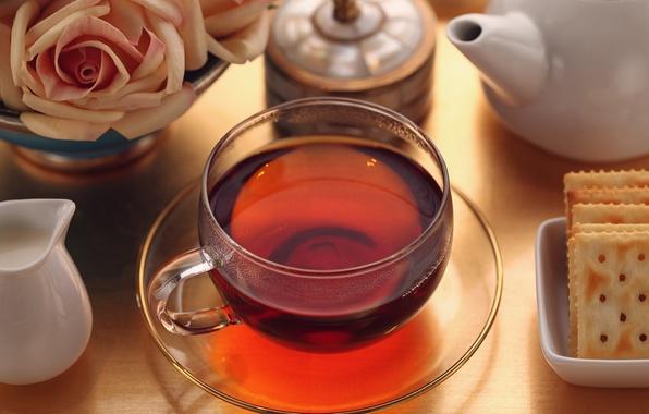 Картинка стол, чай, розы, завтрак, молоко, печенье, чашка