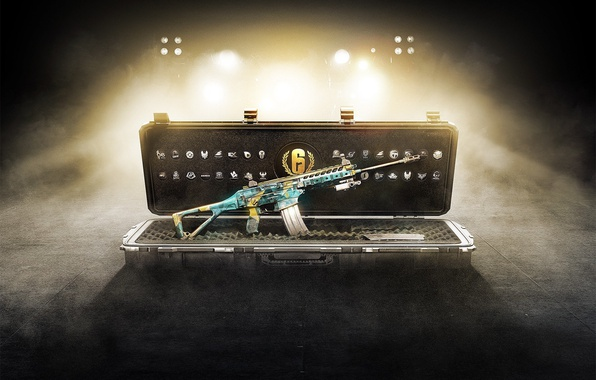Картинка gun, pistol, logo, game, weapon, charger, fog, Rainbow Six, rifle, Tom Clancy's, ACR, assault rifle, …