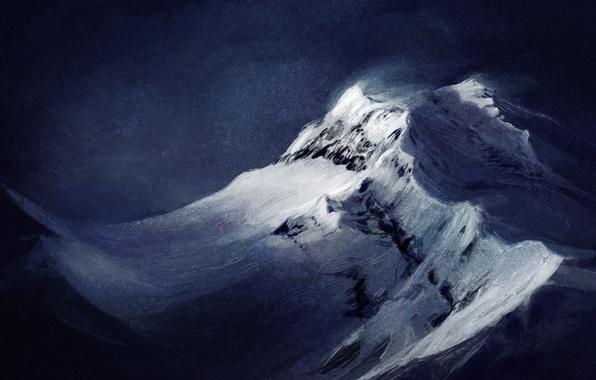 Картинка снег, пейзаж, горы, фон, ветер, арт, вершина, Atenebris