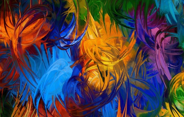 Картинка абстракция, краски, кисть