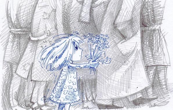 Картинка рисунок, ребенок, букет, девочка, взрослые