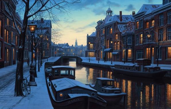 Картинка зима, снег, мост, велосипед, lights, огни, река, дома, лодки, Амстердам, фонари, Нидерланды, сумерки, живопись, twilight, …