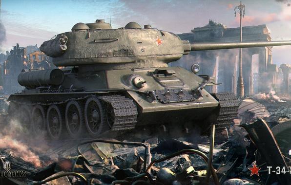 Картинка город, война, дым, развалины, танк, арка, руины, советский, средний, World of Tanks, T-34-85