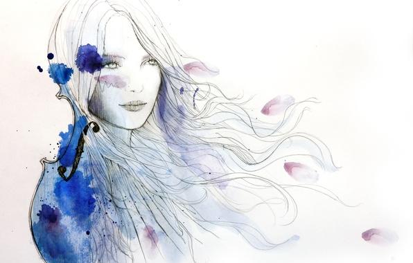 Картинка девушка, скрипка, волосы, рисунок, краска, арт, кляксы