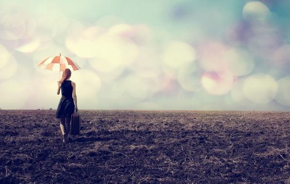 Картинка девушка, природа, путь, зонтик, фон, обои, настроения, зонт, wallpaper, чемодан, широкоформатные, background, боке, полноэкранные, HD …