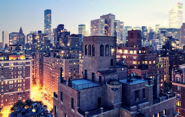 Картинка огни, сумерки, нью-йорк, New York City, usa, nyc, Twilight, Upper East Side