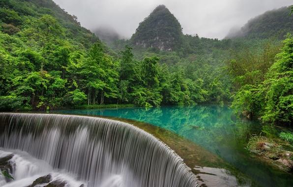 Картинка лес, горы, река, China, водопад, Китай, Либо, Libo County, Guizhou