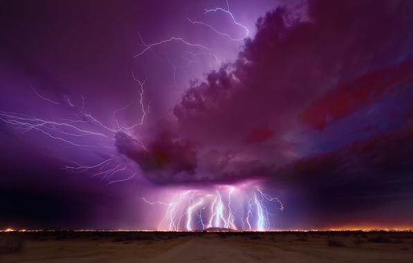 Картинка гроза, небо, ночь, тучи, молнии, молния, вечер, Аризона
