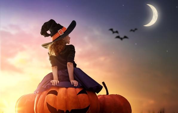 Картинка закат, ночь, луна, девочка, Halloween, тыква, girl, moon, Pumpkin, хэллоуин, hat, child