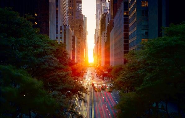 Картинка дорога, солнце, свет, закат, машины, город, весна, выдержка, манхеттен, New York