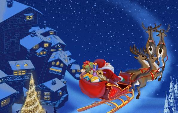 Картинка снег, город, игрушки, елка, новый год, подарки, new year, snow, houses, домов, toys, Merry Christmas, …