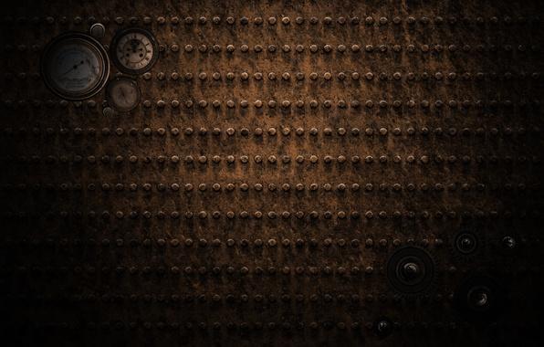 Картинка стрелки, ржавчина, метал, железо, Steampunk, Стимпанк, манометры