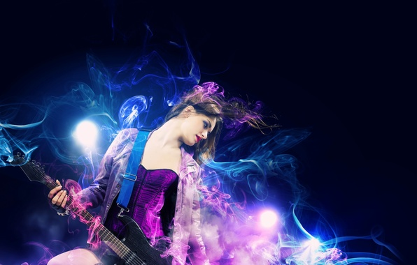 Картинка девушка, музыка, дым, гитара, рок