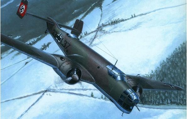 Картинка ice, war, art, army, painting, cold, drawing, ww2, dogfight, german aircraft, aviation art, junker ju …