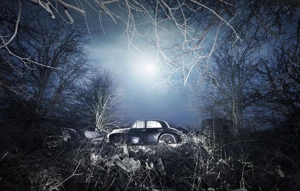 Картинка поле, машина, ночь, лом