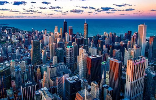 Картинка небо, облака, город, озеро, рассвет, побережье, дома, небоскребы, горизонт, Чикаго, Мичиган, США, Иллинойс, Chicago, Lake …