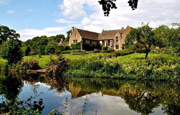 Картинка зелень, трава, вода, деревья, дом, пруд, отражение, Англия, особняк, кусты, Atworth