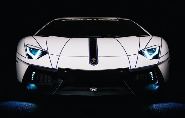 Картинка Lamborghini, Car, Auto, White, LP700-4, Aventador, 2014, Tron Tuning