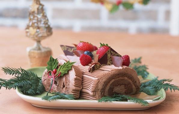 Картинка ягоды, малина, праздник, новый год, еда, шоколад, рождество, черника, клубника, сладости, шоколадный, рулет