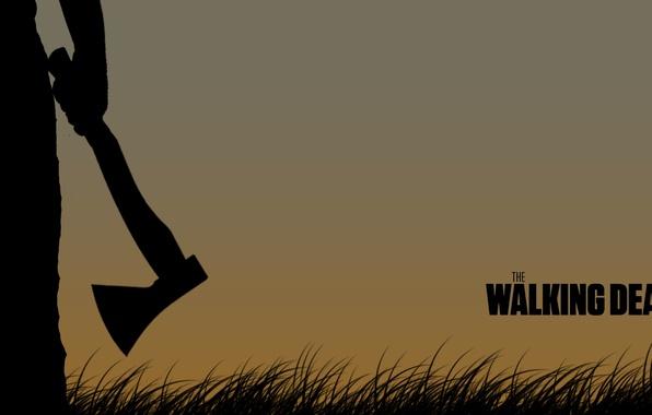 Картинка фильм, силуэт, мужчина, топор, The walking dead